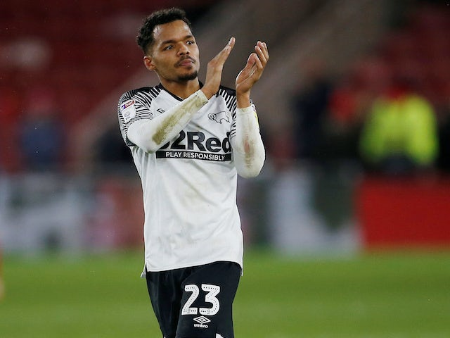 Duane Holmes celebrates equalising for Derby County on January 11, 2020