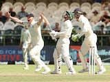 England's Ben Stokes celebrates the wicket of South Africa's Quinton de Kock on January 7, 2020