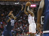 Houston Rockets guard James Harden (13) reaches 20,000 career points scored with a basket during the second quarter Minnesota Timberwolves at Toyota Center on January 12, 2020