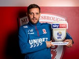 Jonathan Woodgate poses with his Championship Manager of the Month award for December 2019