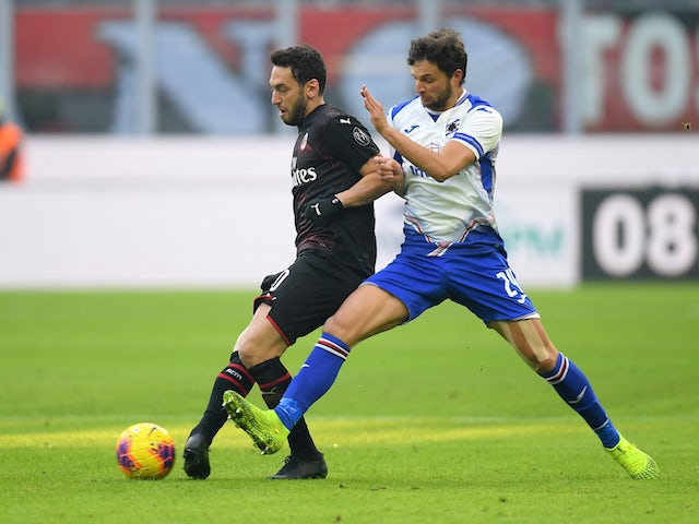 AC Milan attacker Hakan Calhanoglu pictured in January 2020