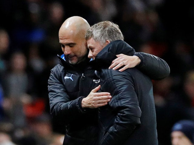 Pep Guardiola and Ole Gunnar Solskjaer ahead of the EFL Cup game between Manchester United and Manchester City on January 7, 2020