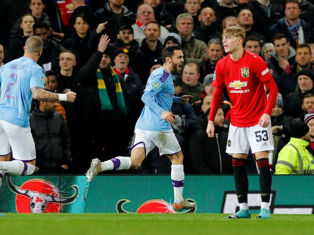 Bernardo Silva celebrates scoring the opener during the EFL Cup game between Manchester United and Manchester City on January 7, 2020