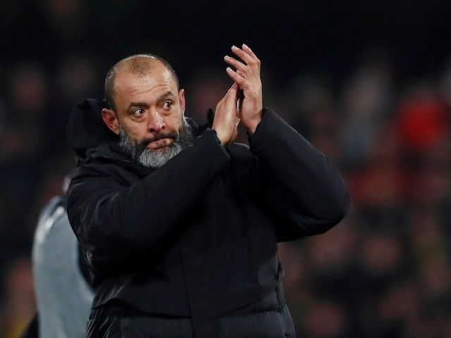 Wolverhampton Wanderers manager Nuno Espirito Santo applauds fans after the match on January 1, 2020
