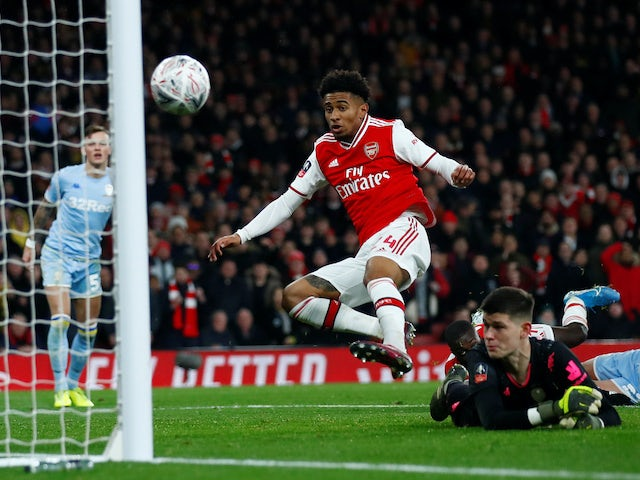 Reiss Nelson scores for Arsenal on January 6, 2020