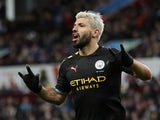 Manchester City's Sergio Aguero celebrates scoring their fifth goal against Aston Villa on January 12, 2020