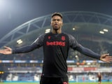 Stoke City forward Tyrese Campbell celebrates scoring against Huddersfield Town on January 1, 2020