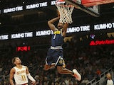 Denver Nuggets guard Will Barton (5) dunks against the Atlanta Hawks in the first half at State Farm Arena on January 7, 2019