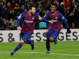 Barcelona's Lionel Messi celebrates scoring their first goal on January 19, 2020