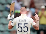England's Ben Stokes celebrates his century on January 17, 2020