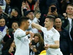 Casemiro celebrates scoring for Real Madrid on January 18, 2020