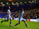 Coventry City's Maxime Biamou celebrates scoring their first goal on January 14, 2020