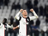 Juventus' Cristiano Ronaldo celebrates after the match on January 19, 2020
