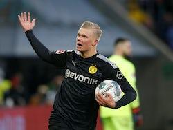 Erling Braut Haaland celebrates scoring for Borussia Dortmund on January 18, 2020