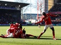 Nottingham Forest's Joe Lolley celebrates scoring their second goal with teammates on January 19, 2020