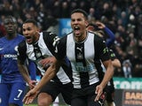 Isaac Hayden celebrates scoring for Newcastle on January 18, 2020