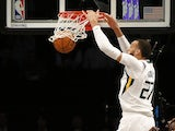 Utah Jazz center Rudy Gobert (27) dunks the ball against the Brooklyn Nets during the first half at Barclays Center on January 15, 2020