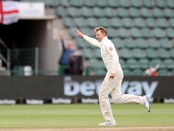 England's Joe Root celebrates taking the wicket of South Africa's Pieter Malan on January 19, 2020