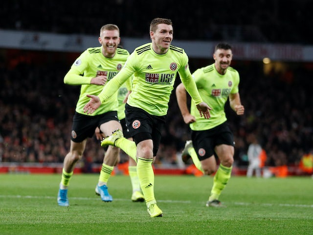 John Fleck celebrates equalising for Sheffield United on January 18, 2020