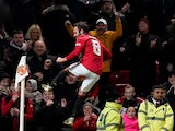 Manchester United's Juan Mata celebrates scoring their first goal on January 15, 2020