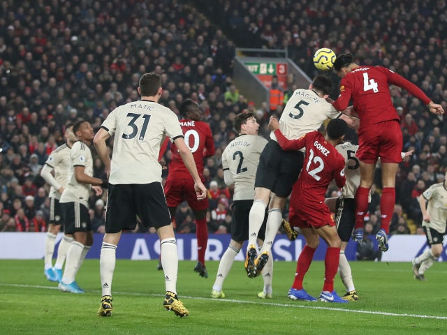Virgil van Dijk scores for Liverpool against Manchester United in the Premier League on January 19, 2020.