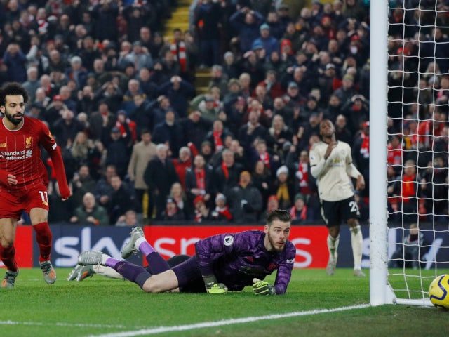 Liverpool's Mohamed Salah misses a chance against Manchester United in the Premier League on January 19, 2020.