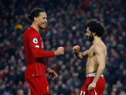 Virgil van Dijk and Mohamed Salah celebrate Liverpool's win over Manchester United in the Premier League on January 19, 2020.