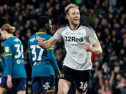 Matt Clarke celebrates scoring for Derby County on January 18, 2020