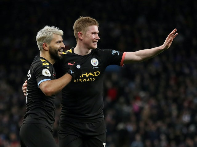 Manchester City's Kevin De Bruyne and Sergio Aguero embrace on January 12, 2020
