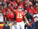 Patrick Mahomes in action for Kansas City Chiefs on January 12, 2020