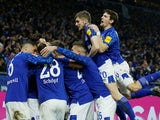 Schalke 04's Suat Serdar celebrates scoring their first goal with teammates on January 17, 2020