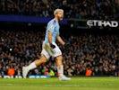 Sergio Aguero celebrates scoring for Manchester City on January 18, 2020