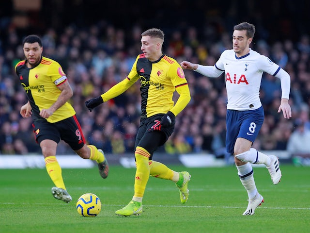 Tottenham Hotspur's Harry Winks in action with Watford's Gerard Deulofeu in the Premier League on January 18, 2020