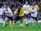 Watford's Abdoulaye Doucoure in action against Tottenham Hotspur in the Premier League on January 18, 2020