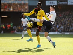Watford's Ismaila Sarr in action with Tottenham Hotspur's Giovani Lo Celso in the Premier League on January 18, 2020