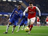 Arsenal's Gabriel Martinelli in action with Chelsea's Callum Hudson-Odoi on January 21, 2020
