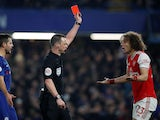 Arsenal's David Luiz is shown a red card by referee Stuart Attwell on January 21, 2020