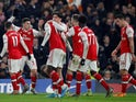 Arsenal's Gabriel Martinelli celebrates scoring their first goal with teammates on January 21, 2020
