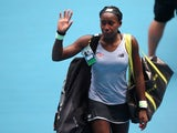 Cori Gauff of the U.S. acknowledges spectators as she walks off court after losing her match against Sofia Kenin of the U.S on January 26, 2020