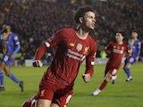 Liverpool's Curtis Jones celebrates scoring their first goal on January 26, 2020