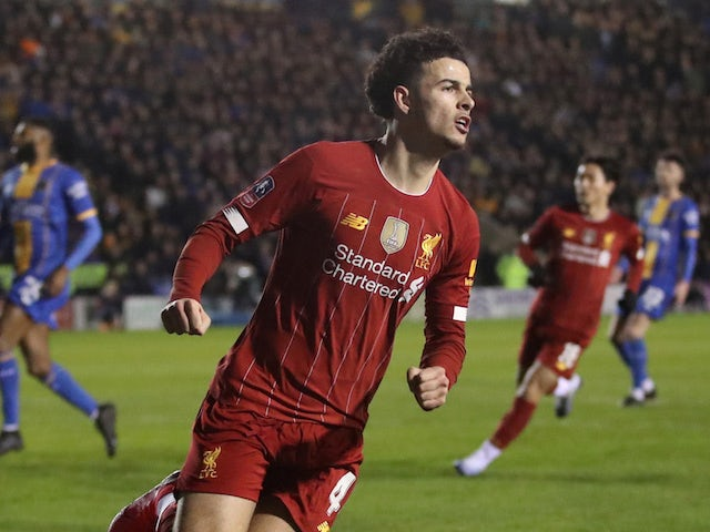 Liverpool's Curtis Jones celebrates scoring their first goal on January 26, 2020