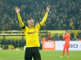 Erling Braut Haaland celebrates scoring for Borussia Dortmund on January 24, 2020