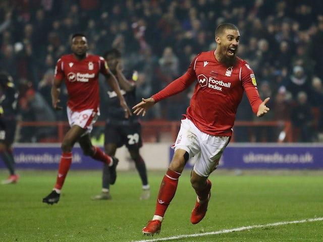 Lewis Grabban celebrates after he scores Nottingham Forest's first goal on January 22, 2020