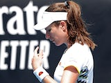 Britain's Johanna Konta reacts during the match against Tunisia's Ons Jabeur on January 21, 2020