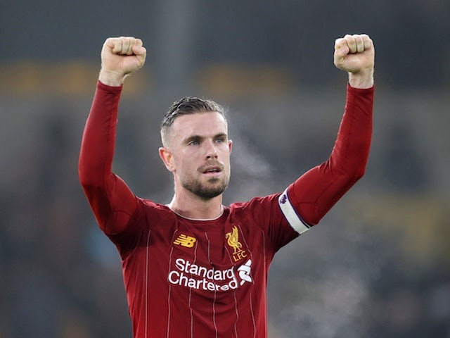 Liverpool's Jordan Henderson celebrates after the match on January 23, 2020