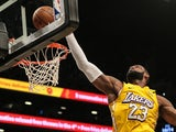 Los Angeles Lakers forward LeBron James (23) reaches for a rebound during the second half against the Brooklyn Nets at Barclays Center pictured on January 24, 2020