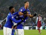 Leicester City's Ricardo Pereira celebrates scoring their second goal with Youri Tielemans and Kelechi Iheanacho on January 22, 2020