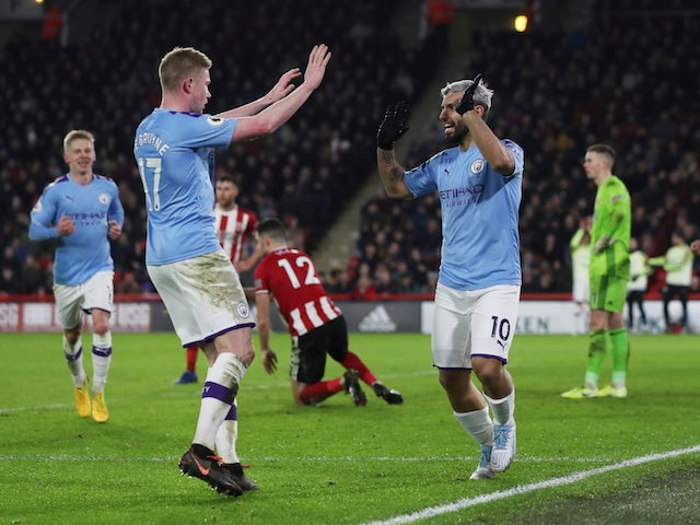 Manchester City's Sergio Aguero celebrates scoring their first goal with Kevin De Bruyne on January 21, 2020