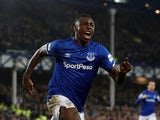Everton's Moise Kean celebrates scoring their first goal on January 21, 2020