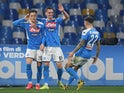 Napoli's Piotr Zielinski celebrates scoring their first goal with Arkadiusz Milik and Giovanni Di Lorenzo pictured on January 26, 2020